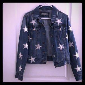 Bagatelle denim jacket with silver stars, NWOT